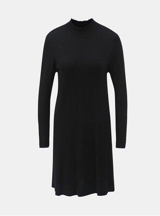 Černé svetrové šaty se stojáčkem a s dlouhým rukávem ONLY Mila