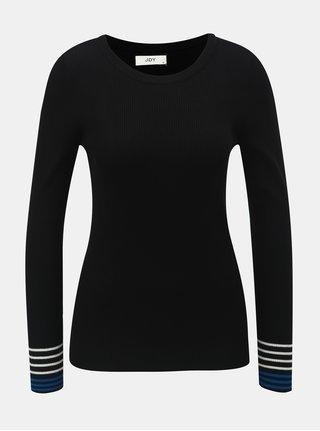 Čierny rebrovaný sveter s pruhmi na rukávoch Jacqueline de Yong Tracy