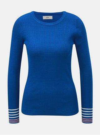 Modrý žebrovaný svetr s pruhy na rukávech Jacqueline de Yong Tracy