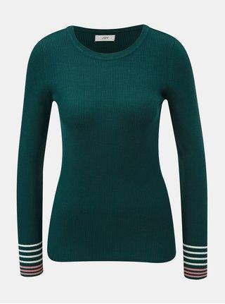 Tmavě zelený žebrovaný svetr s pruhy na rukávech Jacqueline de Yong Tracy