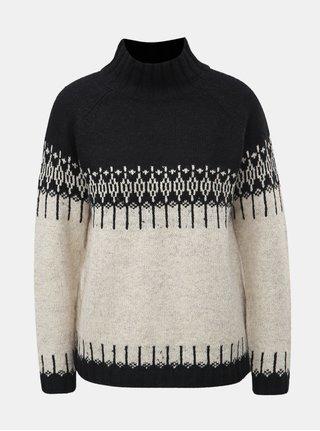 Čierno–krémový vzorovaný sveter s rolákom ONLY Arlene