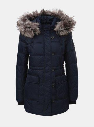 Tmavomodrý prešívaný zimný kabát s odnímateľnou kapucňou ONLY Newottowa
