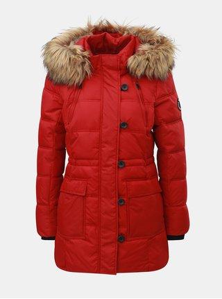 Červený prešívaný zimný kabát s odnímateľnou kapucňou ONLY Newottowa
