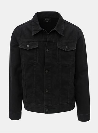 Jacheta barbateasca neagra din denim Burton Menswear London
