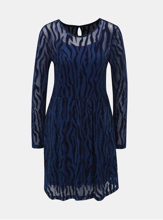 Modré vzorované šaty s průsvitnými detaily ONLY Flikka 52f246ff2c