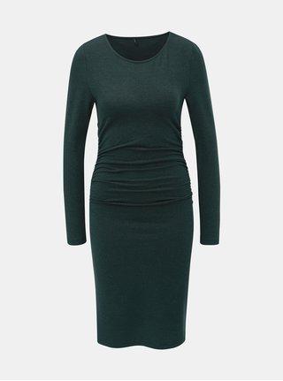 Tmavě zelené pouzdrové šaty s řasením na bocích a se třpytivým efektem ONLY Roma