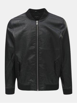 Jacheta bomber neagra din piele sintetica Burton Menswear London