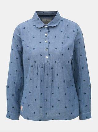 Bluza albastra in dungi de dama cu broderie discreta Brakeburn