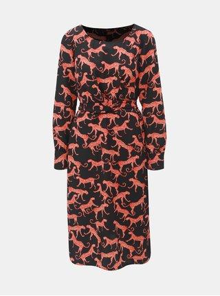 Červeno–čierne vzorované šaty so zaväzovaním ONLY Caysa