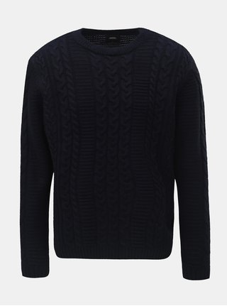 Pulover albastru inchis Burton Menswear London Cable