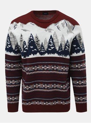 Bílo-vínový svetr s norským vzorem Burton Menswear London Mountain