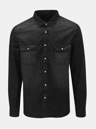 Camasa neagra din denim Burton Menswear London Western