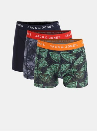 Set de 3 boxeri albastru si verde cu model Jack & Jones Edinburgh