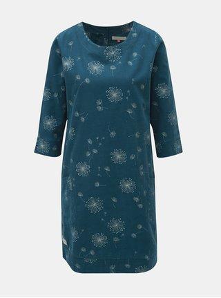 Petrolejové manšestrové šaty s potiskem a 3/4 rukávem Brakeburn