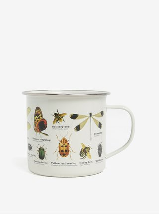 Krémový plechový hrnek s potiskem hmyzu Gift Republic