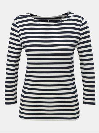 Bielo–modré pruhované basic tričko s 3/4 rukávmi ONLY Fifi