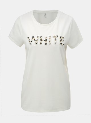 Tricou alb cu petic din margele ONLY Winnie