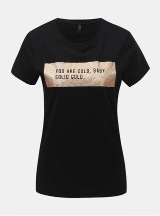 Tricou negru cu imprimeu si maneci scurte ONLY Kita