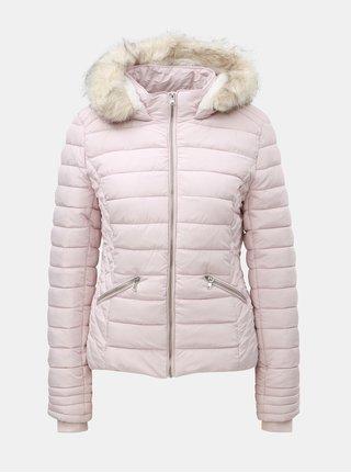 Svetloružová prešívaná zimná bunda s umelou kožušinkou TALLY WEiJL