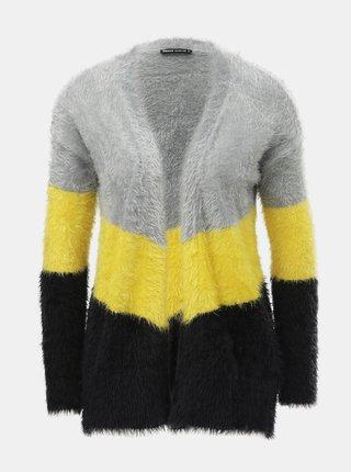 Žluto-šedý pruhovaný kardigan s nízkým chlupem TALLY WEiJL