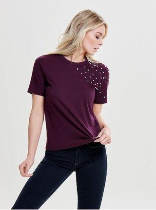 Fialové tričko s krátkym rukávom a korálkovou aplikáciou Jacqueline de Yong Bugs