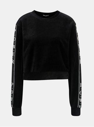 Bluza sport neagra scurta catifelata cu dungi pe maneci TALLY WEiJL