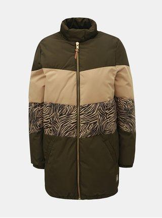 Kaki vzorovaná zimná prešívaná bunda na zips Femi Stories