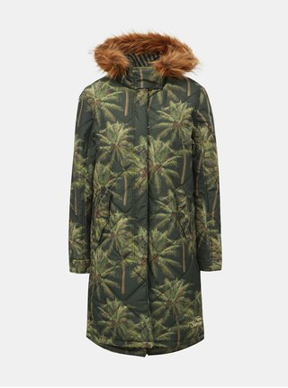 Geaca parka verde inchis de iarna cu model tropical si blana artificiala Femi Stories