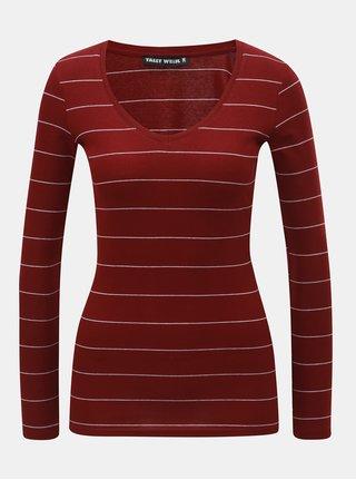 Vínové pruhované tričko s dlouhým rukávem TALLY WEiJL