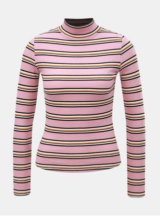 Růžové pruhované tričko se stojáčkem TALLY WEiJL