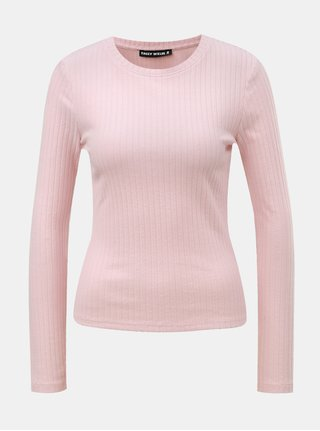 Tricou roz deschis cu striatii si decolteu rotund TALLY WEiJL
