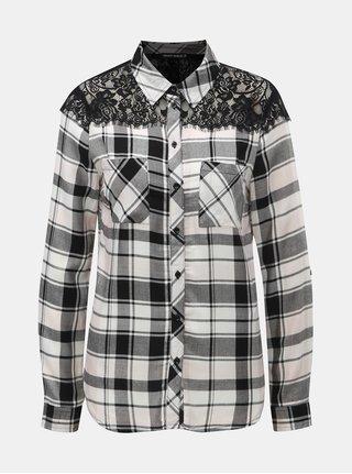 Bílo-černá kostkovaná košile s krajkou na ramenou TALLY WEiJL