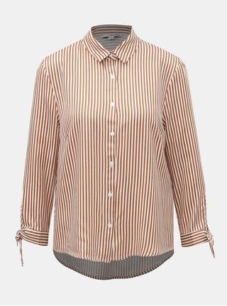 Bílo-hnědá pruhovaná košile s mašlí na rukávech TALLY WEiJL