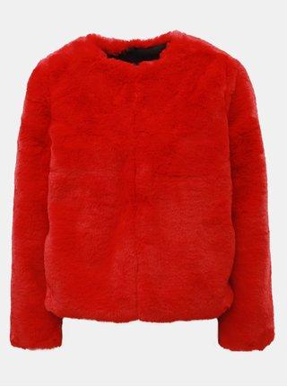 Červený krátky kabát z umelej kožušinky TALLY WEiJL