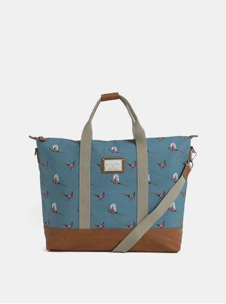 Světle modrá vzorovaná taška s koženkovými detaily Brakeburn