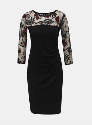 Rochie neagra cu maneci transparente cu model si pliuri laterale Billie & Blossom