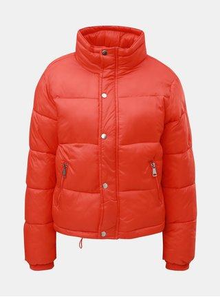 Oranžová prošívaná puffa krátká zimní bunda TALLY WEiJL