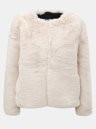 Krémový krátky kabát z umelej kožušinky TALLY WEiJL