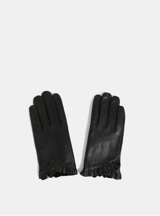 Čierne kožené rukavice s volánikom Dorothy Perkins