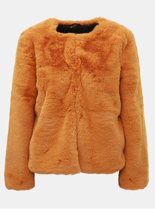 Horčicový krátky kabát z umelej kožušinky TALLY WEiJL