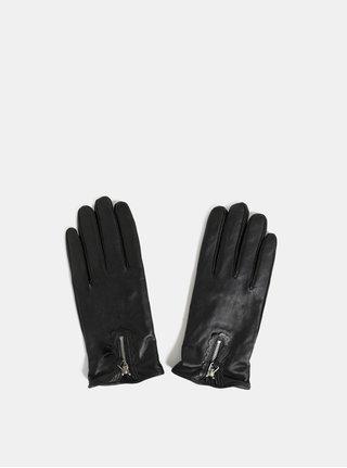 Čierne kožené rukavice s ozdobným zipsom Dorothy Perkins