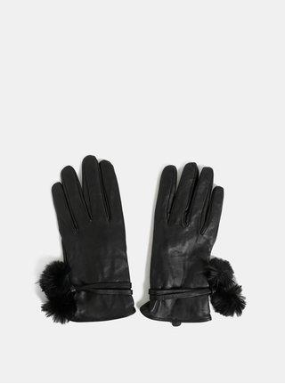 Čierne kožené rukavice s brmbolcami Dorothy Perkins