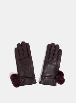 Vínové kožené rukavice s brmbolcami Dorothy Perkins