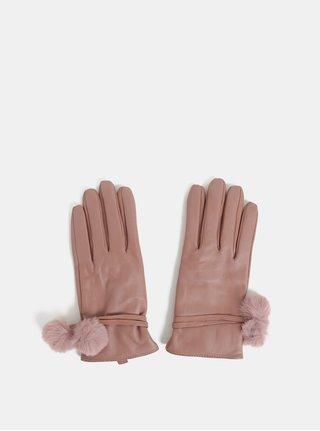 Svetloružové kožené rukavice s brmbolcami Dorothy Perkins