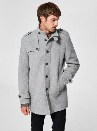 Sivý melírovaný vlnený kabát s gombíkmi Selected Homme Covent
