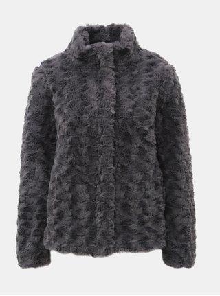 Sivý krátky kabát z umelej kožušinky Dorothy Perkins
