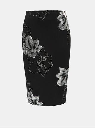 Stříbrno-černá květovaná pouzdrová sukně Dorothy Perkins