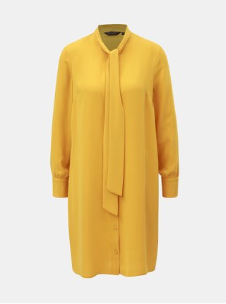 Hořčicové košilové šaty se zavazováním Dorothy Perkins