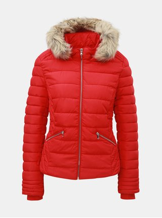 Červená prošívaná zimní bunda s umělým kožíškem TALLY WEiJL