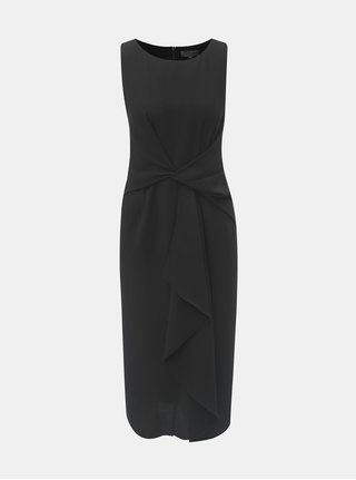 Čierne puzdrové šaty s volánom v prednej časti Dorothy Perkins